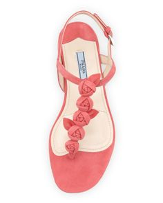 Prada Suede Rose Thong Sandal, Pink - Bergdorf Goodman