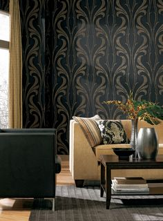 Another nice dark floral pattern. This one by YORK WALLCOVERINGS #interior #design #wallcoverings