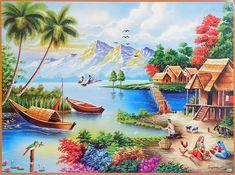 Riverside Village (Reprint on Paper - Unframed Scenery Paintings, Nature Paintings, Beautiful Paintings, Landscape Paintings, Village Drawing, Art Village, India Painting, Love Painting, Riverside Village