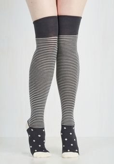 Put the Fun in Funky Thigh Highs. Anyone who spots you sporting these super-cute striped socks will surely want to join in your lively way of life! #blue #modcloth