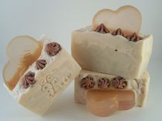 Cold Process Hand Made (Lye) Soap with Melt & Pour Heart Soap Embeds