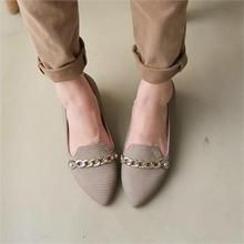 Styleberry - Chain-Detail Faux-Leather Flats