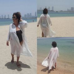 Beach Boho Cardigan Open Front Loose Robe Elegant Outfit Ivory... (€71) ❤ liked on Polyvore featuring plus size caftans, long slip, plus size kaftan, ivory slip and long caftan