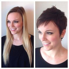 Stylish haircuts earlier than and after medium-length pixel curves Pixie Bob Hairstyles, Haircuts For Long Hair, Pixie Haircut, Short Hairstyles For Women, Cool Hairstyles, Long Hair Cut Short, Very Short Hair, Long Pixie, Curly Hair Men
