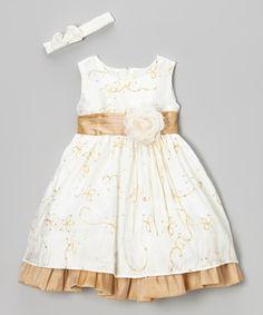 Love this Ivory & Beige Flower Dress & Headband - Infant & Toddler by ClassyKidzShop on #zulily! #zulilyfinds