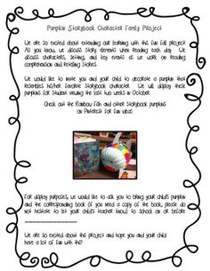 Pumpkin Storybook Character Family Project Letter to Parents