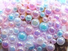 CandyCabsUK AB Iridescent Faux Pearl Pastel Colours FlatBack Cabochon All sizes