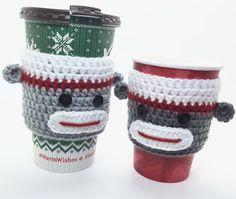 Sock Monkey Cozy, Coffee Cup Cozy, Tea Cup Cozy, Sock Monkey Sleeve, Coffee Cover, Sock Monkey Gift, Tea Cup Sleeve, Crochet Cup Sleeve