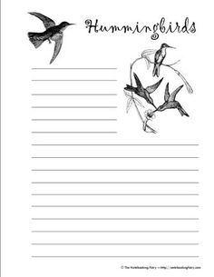 Hummingbirds notebooking pages