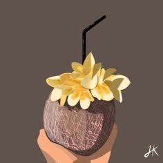 Coconut Drinks, Digital Illustration, Illustrator, Artworks, Juice, Kit, Create, Inspiration, Biblical Inspiration
