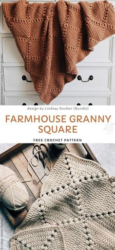 Farmhouse Granny Square Free Crochet Pattern Sweet Granny Blankets Free Crochet Patterns This lovely square makes such a beautiful blanket It s made out of warm colored yarn so it s perfect for Crochet Diy, Crochet Afghans, Crochet Simple, Manta Crochet, Crochet Crafts, Crochet Hooks, Crochet Blankets, Cool Crochet Blanket, Crochet Patterns For Blankets
