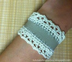 Tutus and Tea Parties: Free Crochet Pattern   DIY Crochet Leather & Lace Cuff... This would work with material too!!