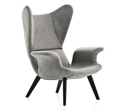 Grey easy chair, Long Wave by Moroso