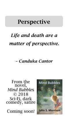 Life and death are a matter of perspective - quote from Mind Bubbles, a novel by John S. Morrison. Sci-Fi, dark comedy, satire, upmarket fiction, 64,000 words.#MeToo, fans of Douglas Adams, Kurt Vonnegut, Christopher Steinsvold.
