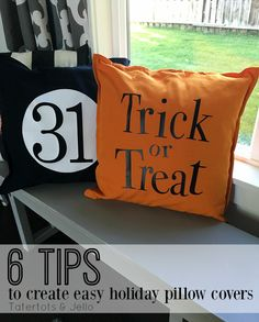 Easy Halloween Pillow Covers! These holiday pillows are a perfect to update your home decor that you already have! Use the Free cut file too!