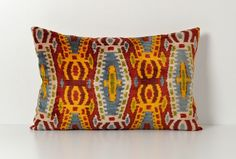 Ikat Silk Velvet Pillow - 15x24 Colorful Handwoven Silk Velvet Ikat Throw Pillow For Couch Home Decor Lumbar Pillow Cover - Accent Pillow on Etsy, $65.00