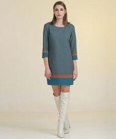 Φόρεμα Εμπριμέ Πετρόλ   Vaya Fashion Boutique