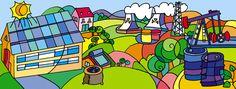 LA RUTA DE LA ENERGÍA Bart Simpson, Renewable Energy, Fonts, Paths, Murals