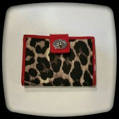 Coach Ocelot Bi-fold Wallet! Leopard Print Fabric in Black and Gray and Red Patent Leather Trim! Gray Leather interior. Small size. Measurements to come! Small Bags Wallets