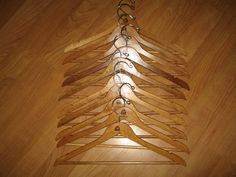 10 Vintage Matching Wood Clothes Hangers from La Costa by twysp2, $25.00