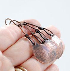 Copper Earrings Hammered Copper Earrings Long by WildWomanJewelry, $58.00