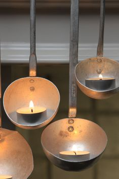 Make DIY tealight candle holders from soup ladles