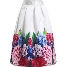 Flowers Print Flare Skirt ($22) ❤ liked on Polyvore