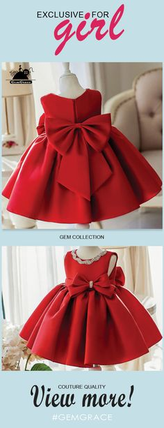 Couture Flower Girl Dresses Simple Red Satin Elegant Flower Girl Dress With Big Bow For Wedding Parties African Dresses For Kids, Gowns For Girls, Little Girl Dresses, Girls Dresses, Cheap Flower Girl Dresses, Trendy Dresses, Cheap Dresses, Elegant Dresses, Flower Girls