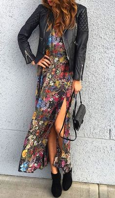 #fall #fashion · Leather Jacket + Flower Print Dress + Ankle Boots