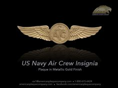 This is a glorious replica of the US Navy Air Crew insignia. A hand carved and hand painted solid mahogany wood with a brilliant metallic gold finish.