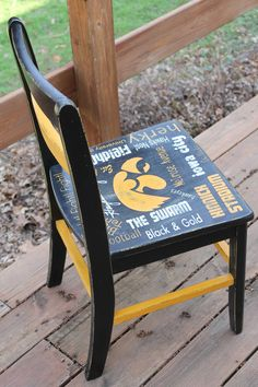 Hand painted Iowa Hawkeye Chair painted by ME :) Hawkeye, Outdoor Furniture, Outdoor Decor, Iowa, Hand Painted, Chair, Painting, Home Decor, Decoration Home