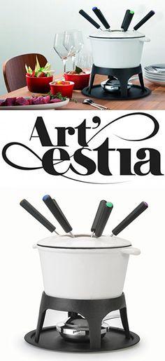 Artestia Cast Iron Fondue Set, serve 6 persons (White)