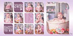 Very pink first birthday, baby girls cake smash, bubble bath, Happy Birthday Smash Cake Girl, Baby Girl Cakes, Smash Cakes, Pink First Birthday, Happy Birthday, Grey Chevron, Pink Grey, Vintage High Chairs, Pink Ombre Cake