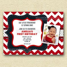 Red White and Navy Blue Birthday Party Invitation  by MommiesInk, $12.50