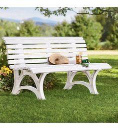 """59&quot 59"""" x 26-1/2"""" x 31-1/2""""H German-Made, Weatherproof Resin Garden Bench"""