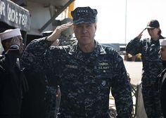 Commander, U.S. Naval Forces Europe-Africa Adm. Mark Ferguson, arrives aboard USS Porter (DDG 78).