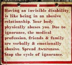 Multiple Sclerosis. No two sufferers have the same symptoms. Very hard disease.