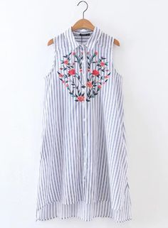 The stripped dress is featured turn-down collar, buttons, sleeveless, floral embroidery.;;;;;.