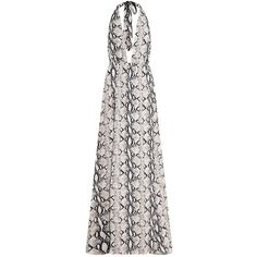 Alina Nude Snake Print Plunge Maxi Dress (13 CAD) ❤ liked on Polyvore featuring dresses, nude dress, plunge maxi dress, white dress, snake pattern dress and maxi length dresses