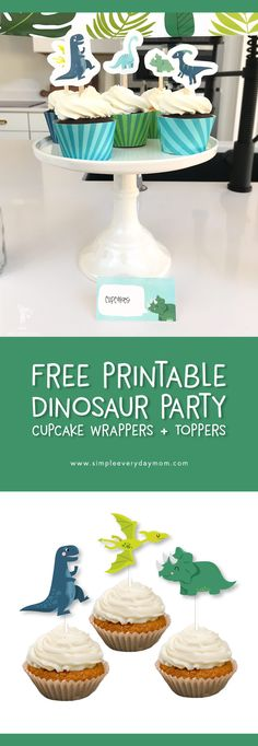 dinosaur birthday party free printables | Download a free set of dino themed cupcake wrappers and toppers. #kidsparties #dinosaur