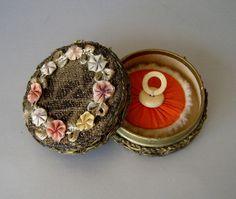 Vintage Metallic Lace Powder Compact Box ~ Ribbon Rose Trim
