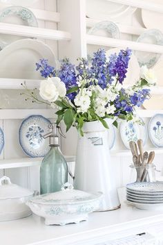 Never underestimate the power of white serving ware, like this charming pitcher from VIBEKE DESIGN. Cottage Shabby Chic, Shabby Chic Homes, Shabby Chic Style, Shabby Chic Decor, Cottage Style, Vintage Decor, Shabby Bedroom, White Cottage, Country Decor