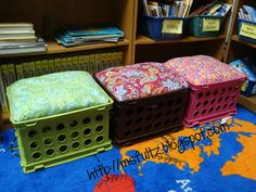 Upcycled Crate Seat Tutorial for classrooms, libraries, and kids' rooms from Ms. Fultz's Corner.