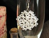 Tatted Lace Earrings    Emaly in White