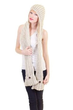 Dazly Crochet Knit Fat Yarn Hooded Scarf Button Pockets Beige One Size Dazly, http://www.amazon.com/dp/B009VUU8PC/ref=cm_sw_r_pi_dp_.QiPqb0Q80WS3