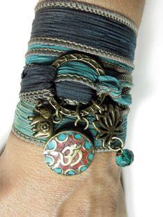 Namaste Lotus Yoga Jewelry Silk Wrap Bracelet Om Elephant by HVart, $32.90
