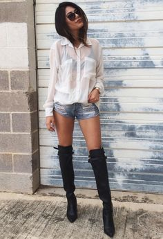 WE BE ALL NIGHT | TheyAllHateUs - Denim Cut Off Shorts, Over the Knee Boots
