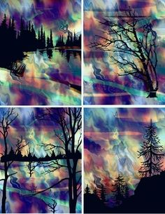 unusual quilts and fabric art | UNIQUE Cotton Fabric ART Prints Northern Lights Forest Landscape ...