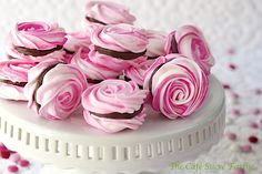 French Meringues with Strawberry Ganache Filling- beautiful