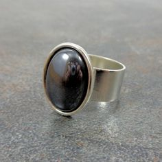 Gray Ring Silver Oval Ring Hematite Mirror Ring Stone by Pilboxx